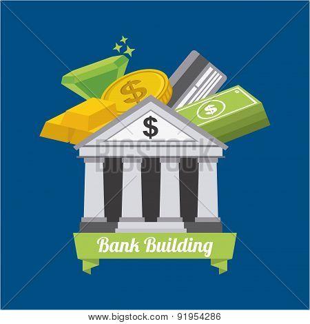 Bank design over blue background vector illustration