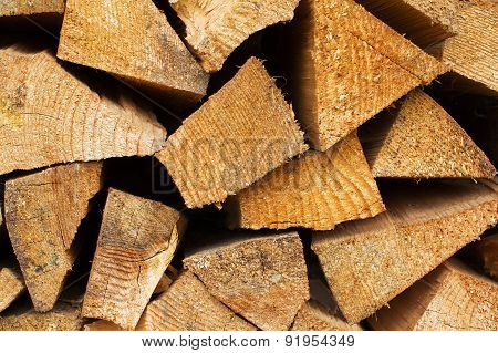 Stack Of Firewood  As A Wooden Background