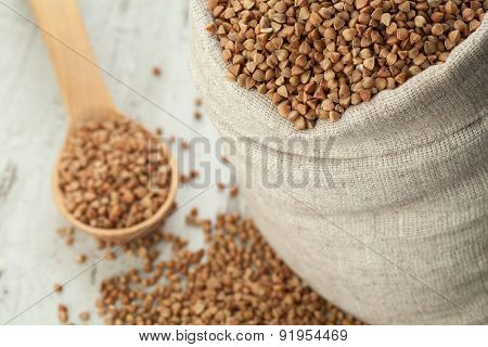 Buckwheat In Linen Sack.