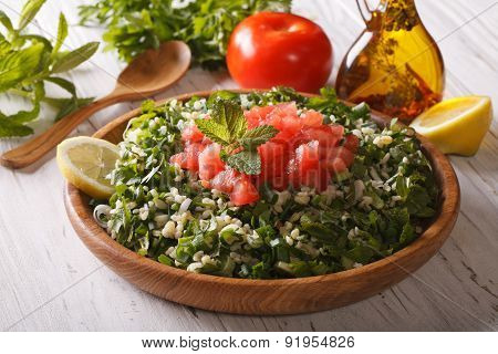 Arabic Salad Tabbouleh In A Wooden Bowl, Horizontal