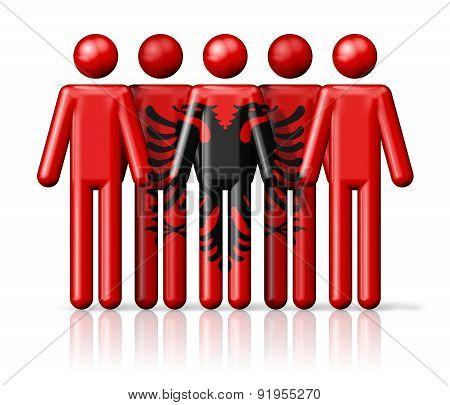 Flag Of Albania On Stick Figure
