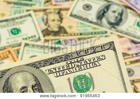 many american dollar bills. symbolic photo for debts and wealth