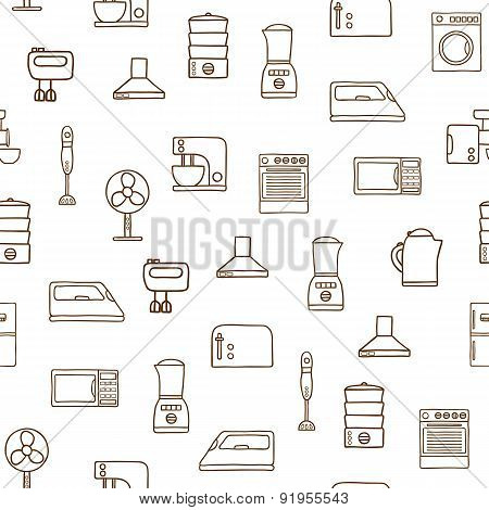 Seamless hand drawn background on home appliance theme