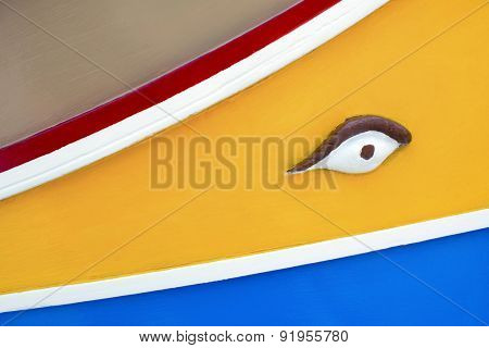 Close up detail of eye on a traditional Maltese fishing boat