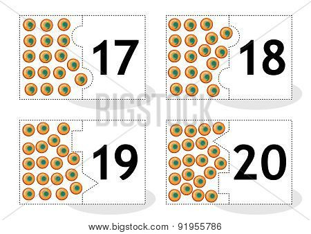 Learn counting puzzle cards with frog eggs, numbers 17-20