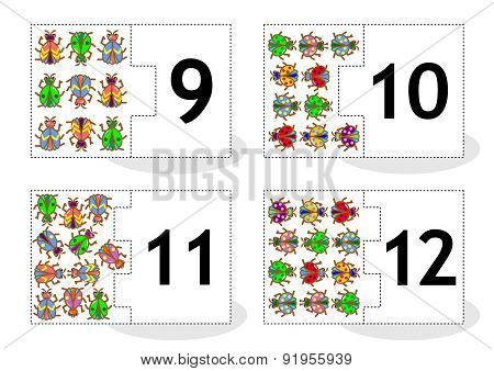 Learn counting puzzle cards with bugs and beetles, numbers 9 - 12