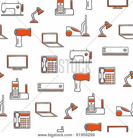 Seamless hand drawn background with home appliances objects