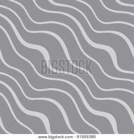 Seamless pattern with diagonal waves on grey background