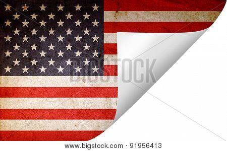Grunge American flag turning page