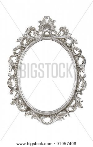Oval silver picture frame isolated with clipping path.