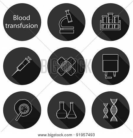 Set of flat icons on blood transfusion theme