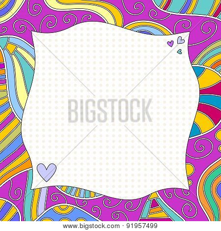 Colorful Background With Curls And Hearts