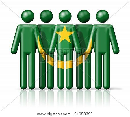 Flag Of Mauritania On Stick Figure