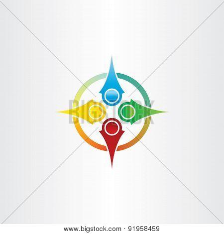 Color Compass Arrows Symbol