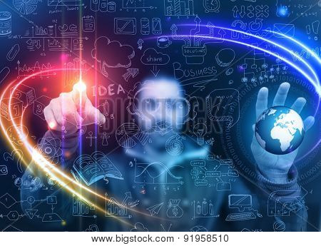 Man touching a glass panel full of informations and graphs. Idea to show business infographics concept