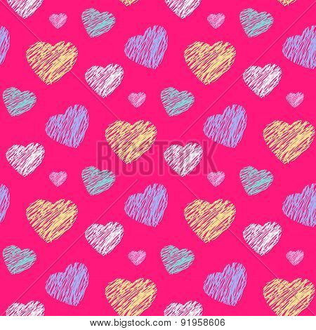 Scribble hearts pattern
