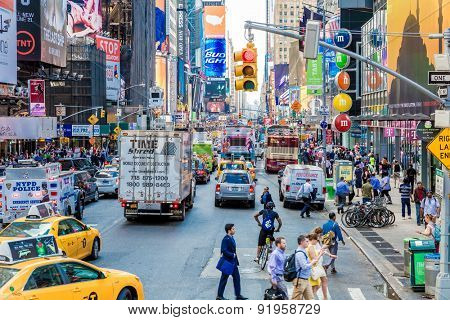 NEW YORK, USA - CIRCA MAY 2015: Pedestrians and Vehicles move along Broadway in Times Square in New York City.