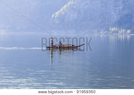 Boat Taxi At The Hallstein Lake In Early Morning