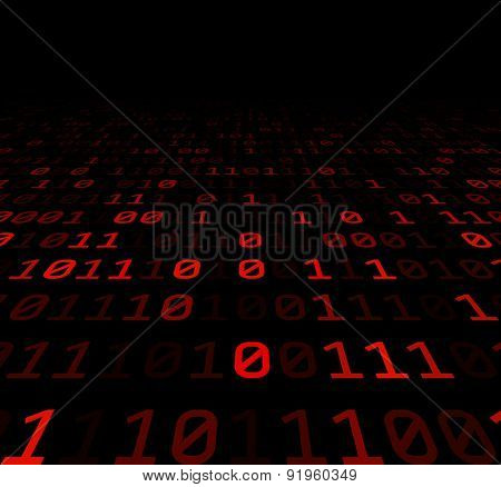 Binary perspective background with red digits. Vector illustration.
