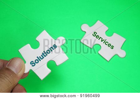 Solution Services Text - Business Concept