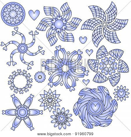 Blue and white ornaments with hearts