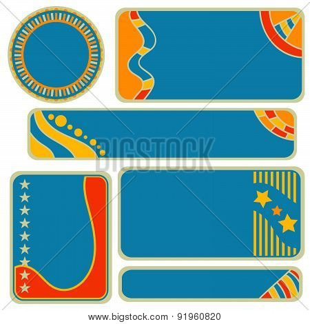 tag, label or banner collection with stars and stripes