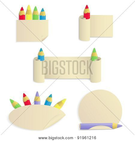 Set Of 5 Paper Stickers With Colored Pencils