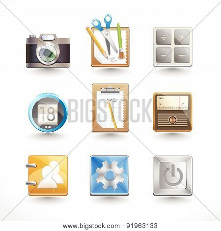 Set Of Realistic Camera Icons. Vector Digital Illustration.
