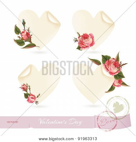 Vector Set With Design Elements For Decoration On Valentine's Day.