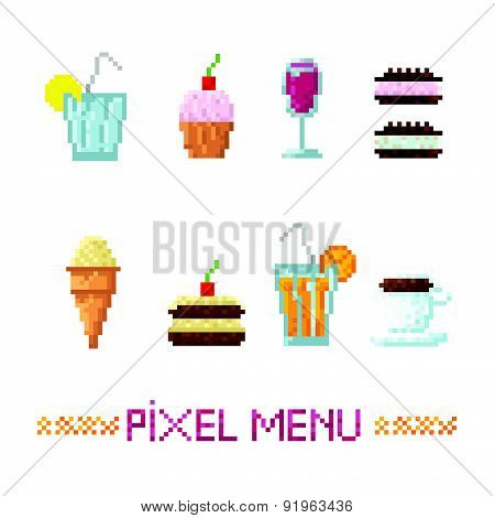 Set Of Simple Pixel Icons Food. Fast Food, Desserts And Drinks.