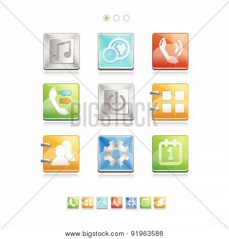 Set Of Realistic Camera Icons. Vector Digital Illustration.