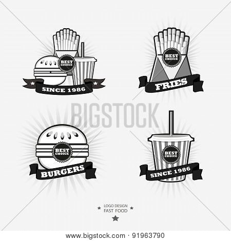 Set Of Fast Food, Junk Food Logo With Ribbon. Fries, Burger, Dr