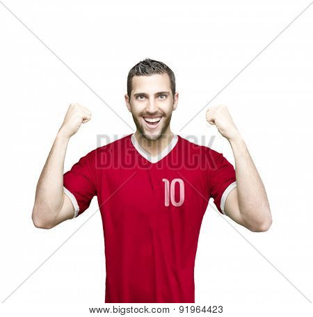 Soccer player on red uniform on white background