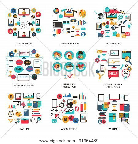 Set Of Elements For Freelance Job, Career