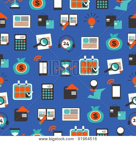 Seamless Pattern With Accountancy Equipment.