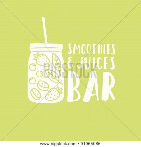 Smoothies and juices bar logotype.