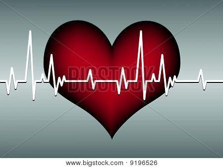red heart cardiogram line