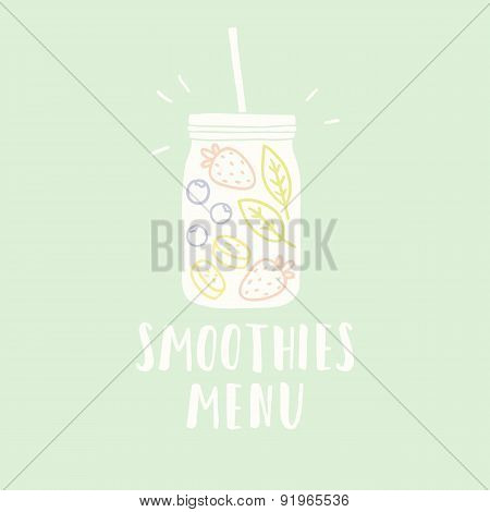 Smoothies menu illustration with jar full of fruits