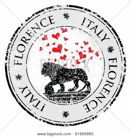 Love Heart Travel Destination Grunge Rubber Stamp With Symbol Of Florence,statue Of A Lion,  Italy,