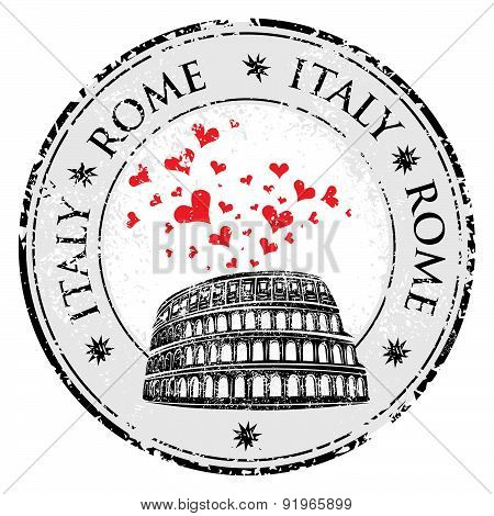 Grunge Love Heart Stamp The Word Rome, Italy Inside, Vector Travel Illustration