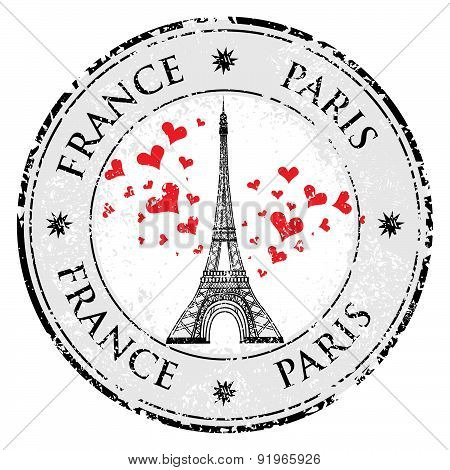 Paris Town In France Grunge Stamp Love Heart, Eiffel Tower Vector