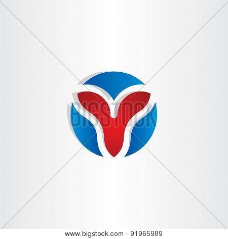 Letter V Circle Symbol Design
