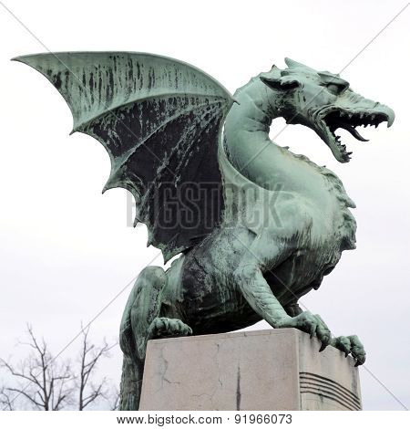 Dragon Statue On Dragon Bridge (zmajski Most), Symbol Of Ljubljana