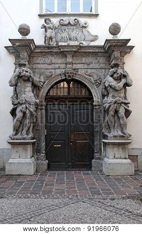 Baroque Door With Ornate Stone Portal, Ljubljana