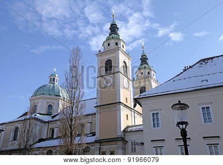Church And Old City In Ljubljana, Slovenia