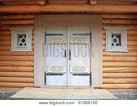 Wooden Decorated Doorway In Timbered House