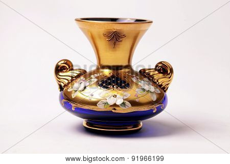 Gold And Blue Ornate Glass Vase