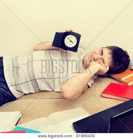 Tired Teenager On Sofa