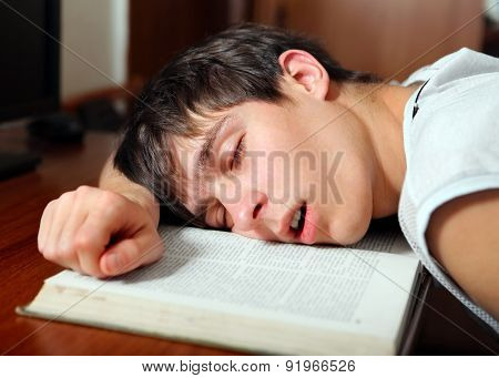 Student Sleep On The Book
