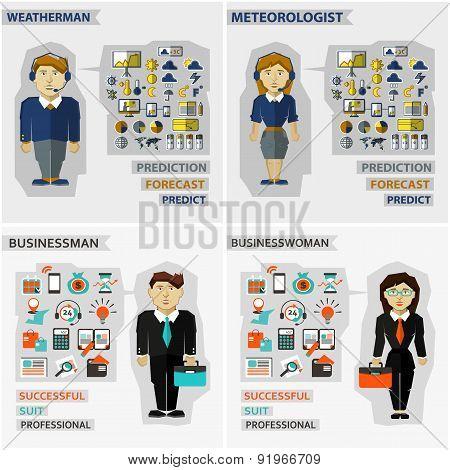 Set Of Professions. Meteorologist, Weatherman, Businessman, Busi